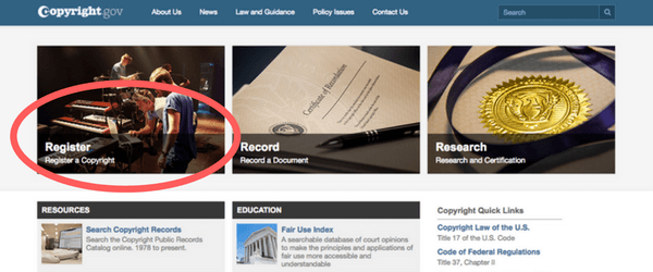 Copyright.gov gives you the option to register a new title on their front page | Intellectual Property HQ