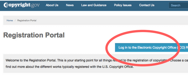 Go to copyright.gov and log in to the ePortal | Intellectual Property HQ