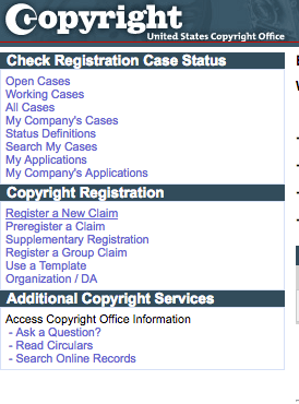 "Click ""Register A New Claim"" under Copyright Registration 