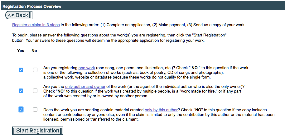 """After you click """"Register New Claim,"""" the US Copyright office will ask you questions about copyrighting your book."""