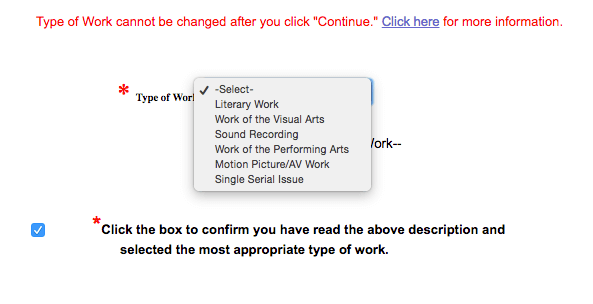 """When copyrighting a book, choose """"Literary Work"""" and check the box below."""