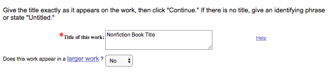 When registering the copyright for a book, type the title exactly as it appears on the file you'll be uploading