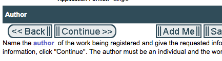 """When copyrighting a book, click """"Add Me"""" to make adding the author information easier."""