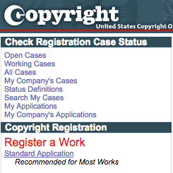 One of the first steps when you copyright your music is to choose the Standard Application.
